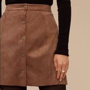 AEO Brown Faux Suede Snap Up Skirt Size 8 NWT
